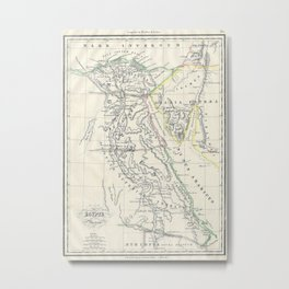Vintage Map of Egypt (1837) Metal Print