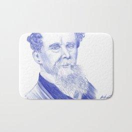 Charles Dickens Portrait In Blue Bic Ink Bath Mat