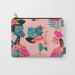 Tropical Flamingos - Pink Palette Carry-All Pouch