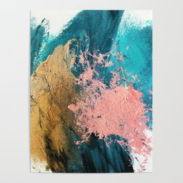 Coral Reef [1]: colorful abstract in blue, teal, gold, and pink Poster