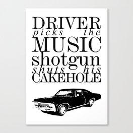 Superantural - Driver picks the music... Canvas Print