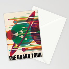 Retro Space Poster - The Grand Tour Stationery Cards