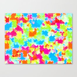 geometric pixel square pattern abstract in pink blue green orange Canvas Print