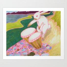 Bongo Bunny on a Pebble Beach Art Print