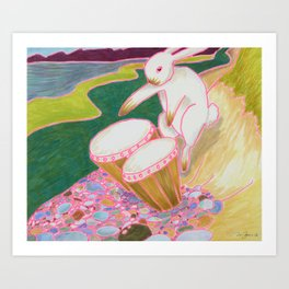 Bongo Bunny on a Pebble Beach Art Print