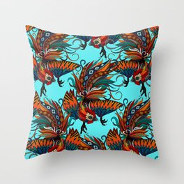 rooster ink turquoise Throw Pillow