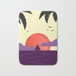 Colorful sunset art with purple yellow orange and black, sailor design Bath Mat