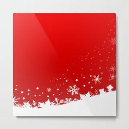 Red Snowflake Scene Metal Print