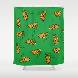 Pepperoni Pizza Dripping Cheese by the Slice Pattern (green) Shower Curtain