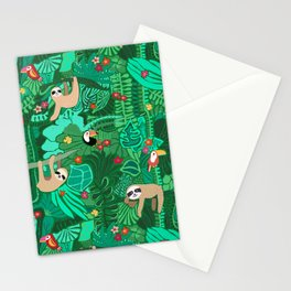Sloths in the Emerald Jungle Pattern Stationery Cards