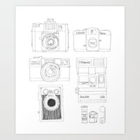 cameras Art Prints featuring cameras by steffaloo