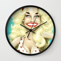 dolly parton Wall Clocks featuring DOLLY PARTON V.2 by Jessica Dudfield