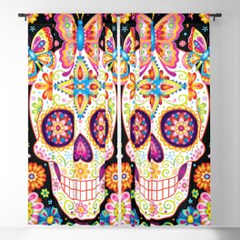 Sugar Skull Art - Sugar Skull with Butterflies and Flowers by Thaneeya McArdle Blackout Curtain