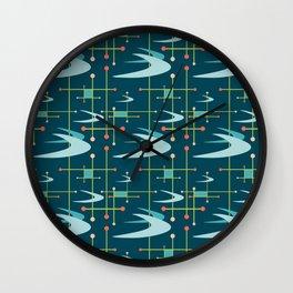Mid Century Modern Boomerangs in Blues Wall Clock