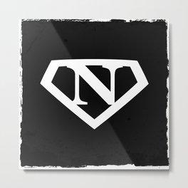 White Letter N Symbol Metal Print