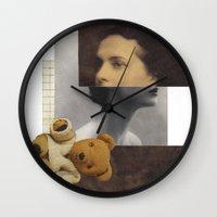 teddy bear Wall Clocks featuring Teddy by KatinkaHanselman