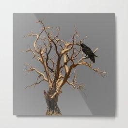 RAVEN ON DEAD TREE GREY ART Metal Print