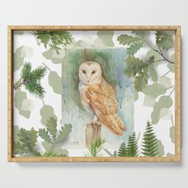 Barn Owl & Forest Plants Serving Tray