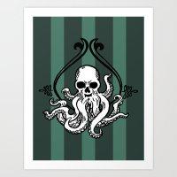 cthulhu Art Prints featuring Cthulhu by MyOwlHasAntlers