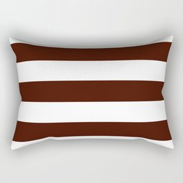 Black bean - solid color - white stripes pattern Rectangular Pillow