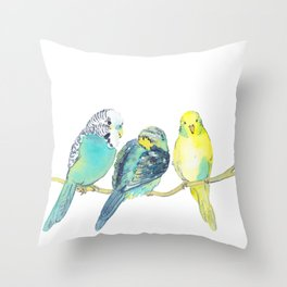 budgie family watercolor Throw Pillow