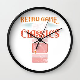 Retro 80's Classics Game Play Level Up Game Over Controller Gamer Computer Games T-shirt Design Wall Clock