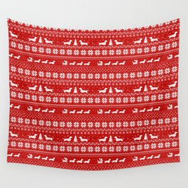 Dachshunds Christmas | Love Joy Peace Wiener Dogs Wall Tapestry