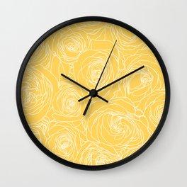 Sunshine Yellow Roses Drawing Wall Clock