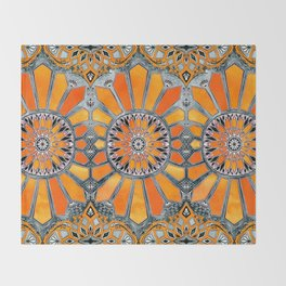 Celebrating the 70's - tangerine orange watercolor on grey Throw Blanket