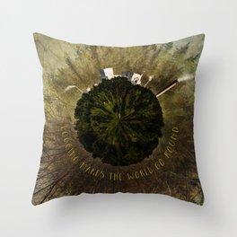 Logging Makes the World Go Round Mini Planet Orb Throw Pillow