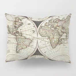 Vintage map of the World 1696 Pillow Sham