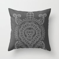 tortoise Throw Pillows featuring Pattern Tortoise  by Adil Siddiqui