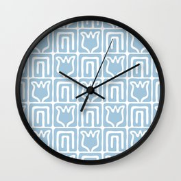 Mid Century Flower Garden Pattern 381 Pale Blue Wall Clock