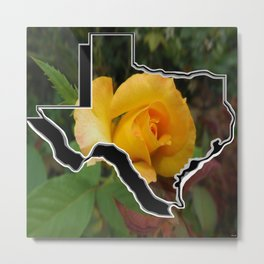 Yellow Rose of Texas with Texas Metal Print