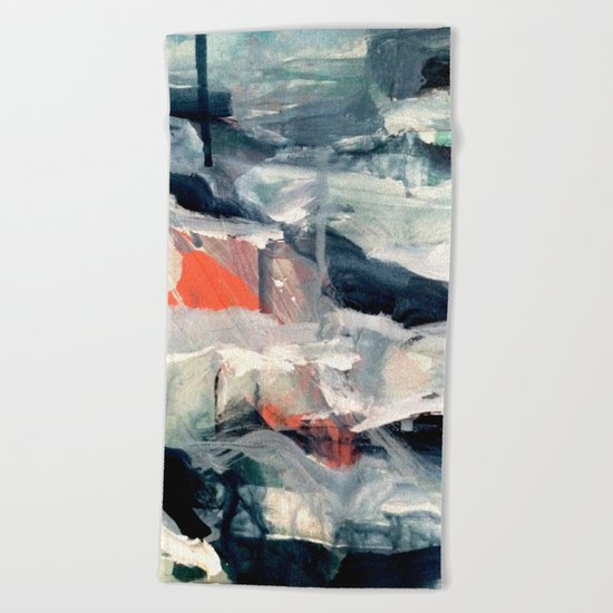 Eye of the Storm [2] - abstract mixed media piece in blues, white, and red Beach Towel