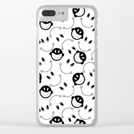 Black and white monkey tongue out Clear iPhone Case