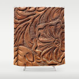 Vintage Worn Tooled Leather Shower Curtain
