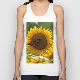 The butterfly the bee and the sunflower Unisex Tank Top