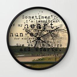 My Heart - Edgar Allan Poe Wall Clock