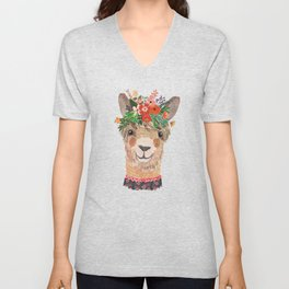 Llama with Flower Crown by Mia Charro Unisex V-Neck