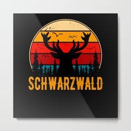 Schwarzwald Retro Hirsch Schwaben Schwarzwälder Metal Print