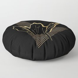 Black and Gold Poppy Flower over line triangle Floor Pillow