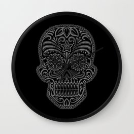 Intricate Gray and Black Day of the Dead Sugar Skull Wall Clock