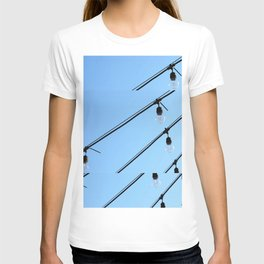 Light Bulb Art - Hanging Lights On Blue - Sharon Cummings T-shirt