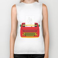 typewriter Biker Tanks featuring Typewriter by EinarOux