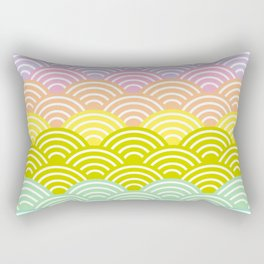 Seigaiha or seigainami literally means blue wave of the sea. rainbow pattern abstract scale Rectangular Pillow