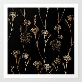 Black & Gold Floral Pattern Art Print