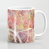 moscow Mugs featuring Moscow Map by MapMapMaps.Watercolors