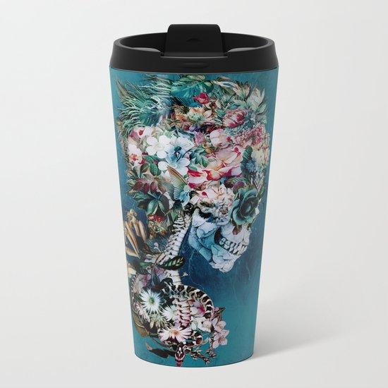 Floral Skull RP Metal Travel Mug