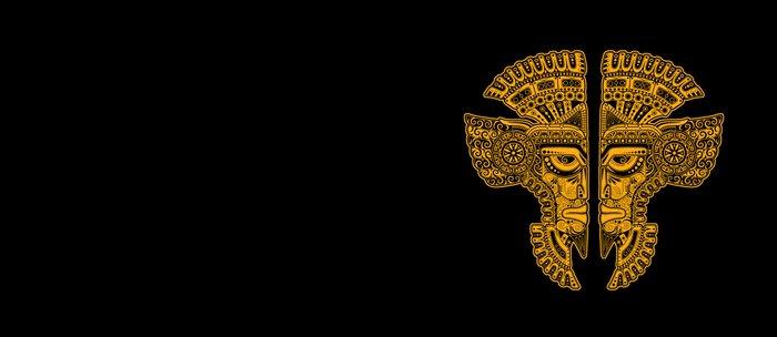 Yellow and Black Aztec Twins Mask Illusion Coffee Mug